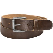 Bill Adler Augusta Belt - Washed Leather (For Men) in Tan/Silver Buckle - Closeouts