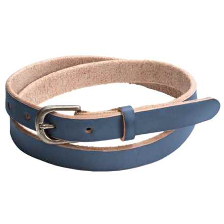 Bill Adler Jelly Bean Skinny Belt - Leather (For Women) in Blueberry - Closeouts