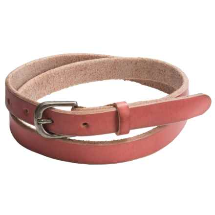 Bill Adler Jelly Bean Skinny Belt - Leather (For Women) in Cherry - Closeouts