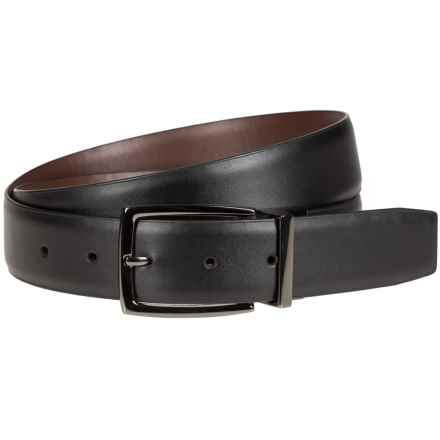 Bill Adler Reversible Feather-Edge Belt - 35mm (For Men) in Black/Brown - Closeouts