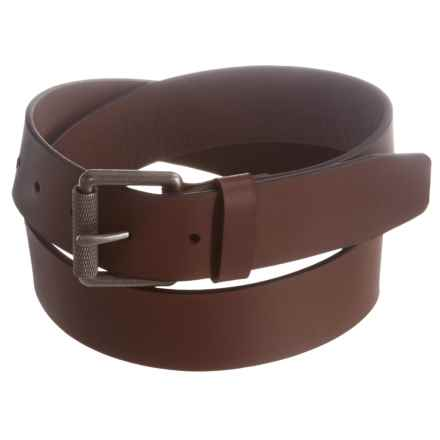 Bill Adler Roller Buckle Leather Belt (For Men) in Mid Brown - Closeouts