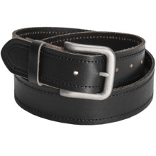 Bill Adler Stitched Leather Belt (For Men) in Black - Closeouts