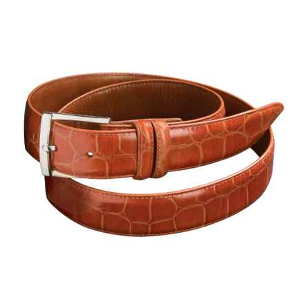 Bill Lavin Hand-Finished Crocodile Italian Leather Belt - Soft Collection (For Men) in Cognac - Closeouts