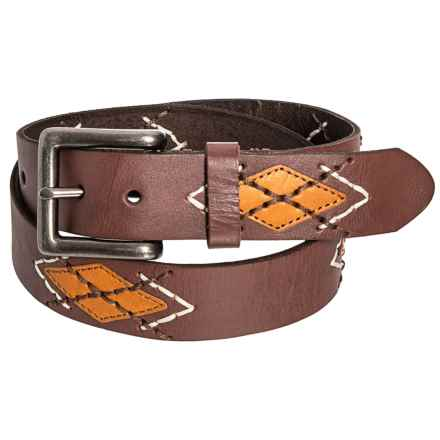 Bill Lavin Leather Island Embroidered Belt (For Men) in Brown - Closeouts