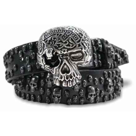 "Bill Lavin Leather Island Skiantos Big Skull Belt - Leather, 1-1/2"" (For Men) in Black - Closeouts"
