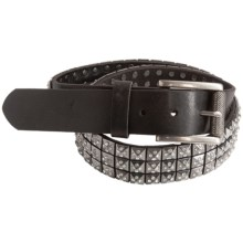 Bill Lavin Pyramid Stud and Glass Crystal Belt - Italian Leather (For Men) in Black Gun Metal - Closeouts