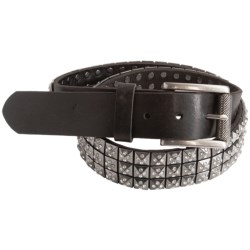 Bill Lavin Pyramid Stud and Glass Crystal Belt - Italian Leather (For Men) in Black Gun Metal