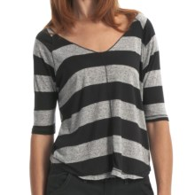 Billabong Back Me Up Heather Stripe T-Shirt - V-Neck, 3/4 Sleeve (For Women) in Off Black Heather - Closeouts