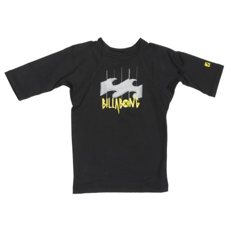 Billabong Creature Rash Guard Shirt - UPF 50, Short Sleeve (For Little Kids) in Black