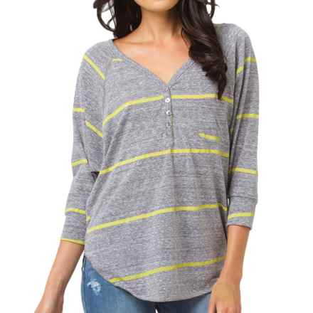 Billabong Draw the Line Henley Shirt - 3/4 Sleeve (For Women) in Athletic Grey - Closeouts