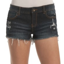 Billabong Lovvah Cut-Off Denim Shorts - Stretch Cotton (For Women) in Dark Well Worn - Closeouts