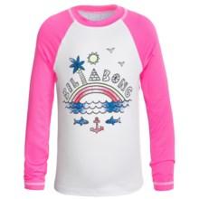 Billabong Rainbow Spot Rash Guard - UPF 50, Long Sleeve (For Little Girls) in Pink Crush - Closeouts