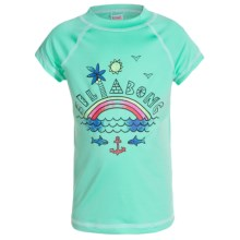 Billabong Rainbow Spot Rash Guard - UPF 50, Short Sleeve (For Little Girls) in Seafoam - Closeouts