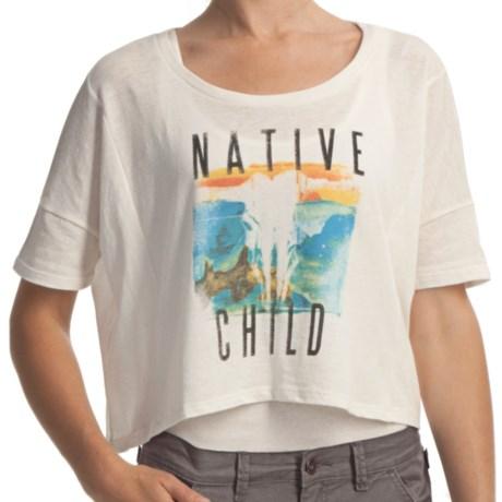 Billabong Screenprinted Oversized Crop T-Shirt - Organic-Cotton Blend, Short Sleeve (For Women) in Native Way Cool Wip