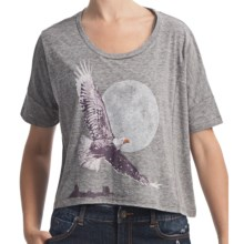 Billabong Screenprinted Oversized Crop T-Shirt - Organic-Cotton Blend, Short Sleeve (For Women) in Native Way Dark Athletic Grey - Closeouts