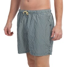 Bills Khakis Checkered Swim Trunks (For Men) in Cream/Navy - Closeouts