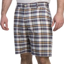 Bills Khakis Madras Plaid Shorts (For Men) in White/Navy - Overstock