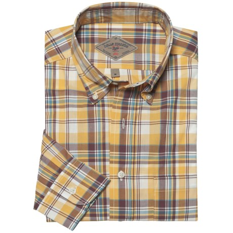 Bills Khakis Patterson Plaid Shirt - Long Sleeve (For Men) in Barley Plum