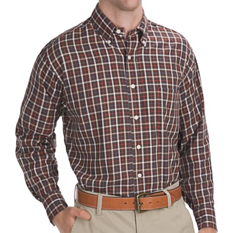 Bills Khakis Tattersall Shirt - Long Sleeve (For Men) in Brown/White