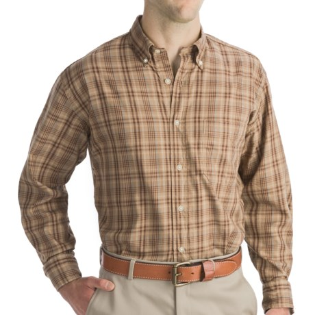 Bills Khakis Tea-Stained Plaid Shirt - Tailored Fit, Long Sleeve (For Men) in Tobacco