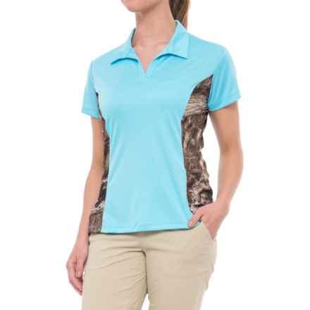 Bimini Bay Camo Insert Polo Shirt - UPF 50+, Short Sleeve (For Women) in Powder Blue/Breakup Infinity - Closeouts