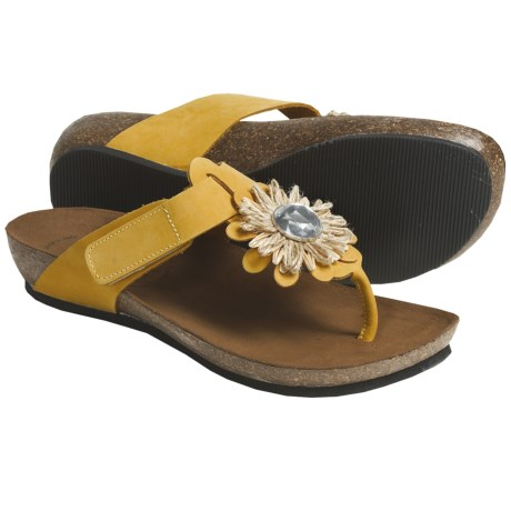 Bionatura Bari Thong Sandals - Nubuck (For Women) in Yellow