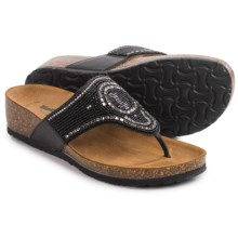 BioNatura Crystal II Flip-Flops - Leather (For Women) in Black - Closeouts