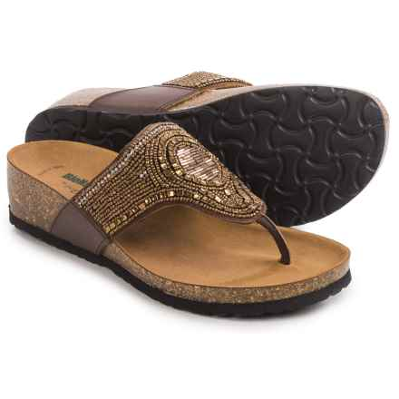 BioNatura Crystal II Flip-Flops - Leather (For Women) in Bronze - Closeouts