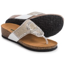 BioNatura Crystal II Flip-Flops - Leather (For Women) in Ice - Closeouts