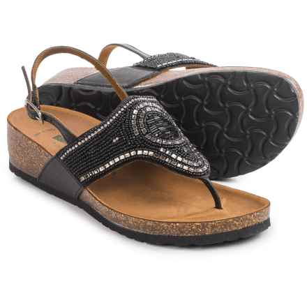 BioNatura Crystal Sling-Back Sandals - Leather (For Women) in Black - Closeouts