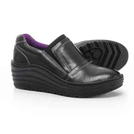 Bionica Grinnell Leather Wedge Shoes - Slip-Ons (For Women) in Black - Closeouts