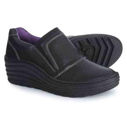 Bionica Grinnell Wedge Shoes - Leather (For Women) in Black - Closeouts