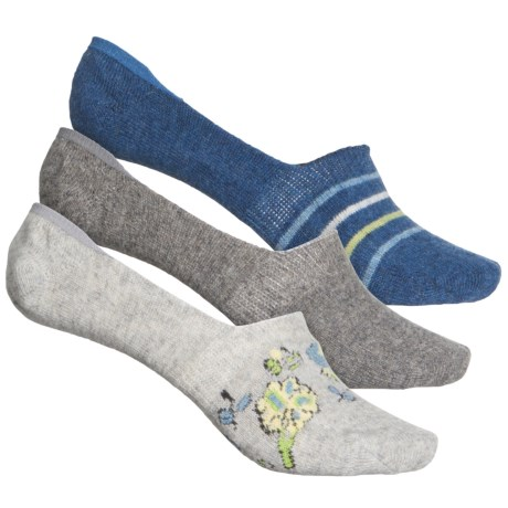 Bird Stripe Liner Socks - 3-Pack, Below the Ankle (For Women) - GREY HEATHER (M ) -  BORN OUTDOORS