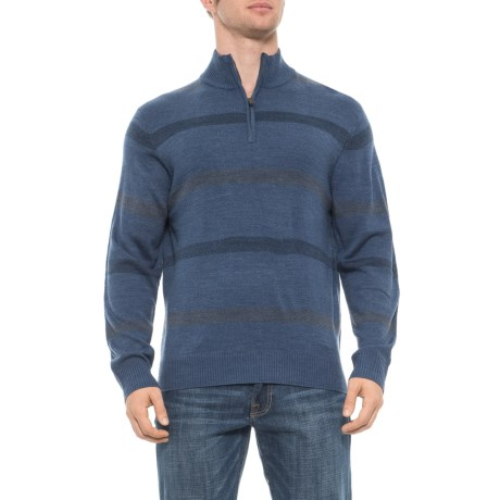 Image of Birdseye Stripe Sweater - Zip Neck (For Men)