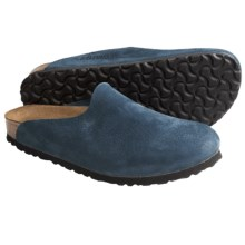 Birkenstock Amsterdam Clogs - Leather (For Women) in Slate Blue Nubuck - Closeouts