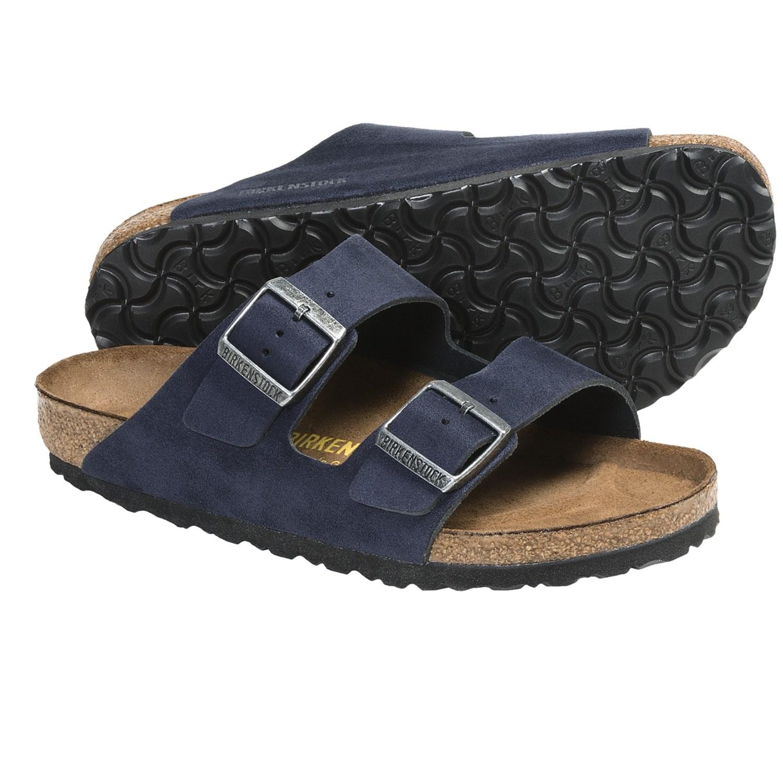 birkenstock arizona navy blue silky suede