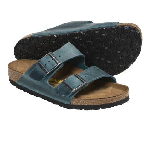 Birkenstock Arizona Sandals - Leather (For Men and Women) in Navy Silky Suede