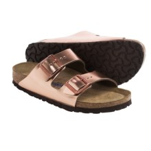 Birkenstock Arizona Sandals - Metallic Leather, Soft Footbed (For Women) in Metallic Copper - Closeouts