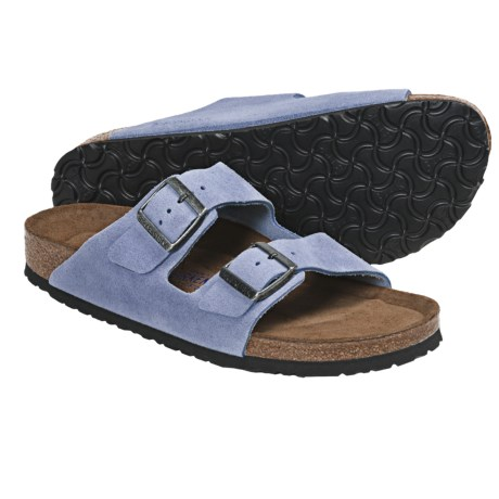 Birkenstock Arizona Soft Footbed Sandals - Leather (For Men and Women) in White Sand Suede
