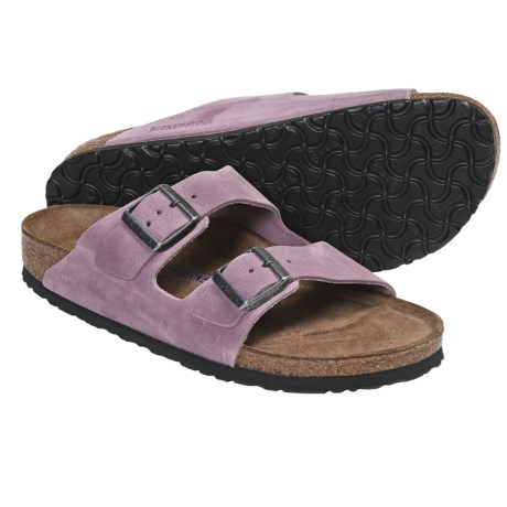 Birkenstock Arizona Soft Footbed Sandals - Leather (For Men and Women) in Passion Flower Suede
