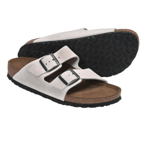 Birkenstock Arizona Soft Footbed Sandals - Leather (For Men and Women) in Dream Blue Suede