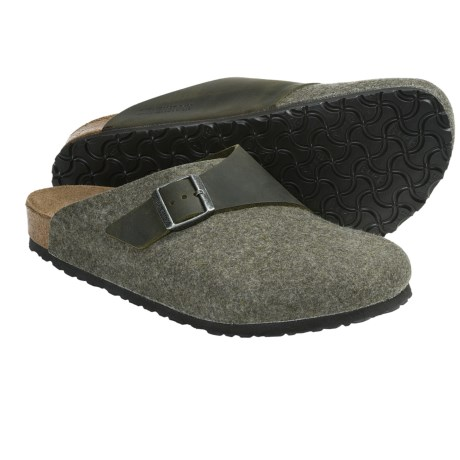 Birkenstock Basel Clogs - Wool-Leather (For Men and Women) in Henna/Rust Oiled Leather