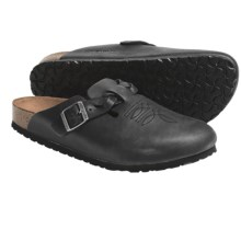Birkenstock Boston Clogs - Leather, Braided Strap (For Men and Women) in Midnight Nubuck - Closeouts