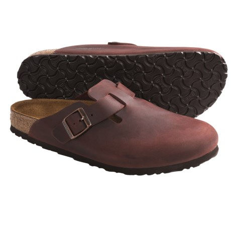 Birkenstock Boston Clogs - Leather (For Men and Women) in Waxy Leather Henna