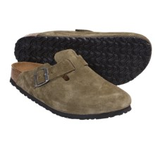 Birkenstock Boston Clogs - Soft Footbed (For Men and Women) in Olive Suede - Closeouts