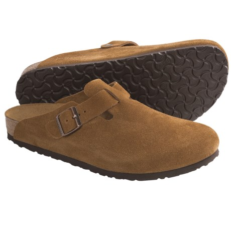 Birkenstock Boston Clogs - Suede (For Men and Women) in Brown Suede