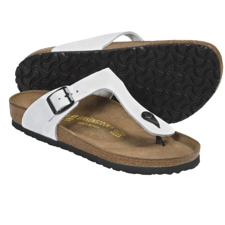 Birkenstock Gizeh Leather Sandals (For Women) in Cortina White Leather