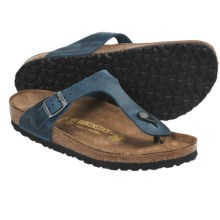 Birkenstock Gizeh Sandals - Oiled Leather (For Women) in Turquoise Oiled Leather - Closeouts