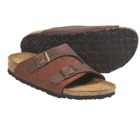 Birkenstock Zurich Sandals - Leather (For Men and Women) in Green Leather/Wool