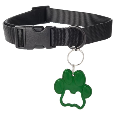 Bison Designs Dog Collar with Paw Bottle Opener in Black